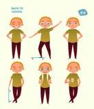 tillbaka skola till Uppsättningen av en pojke i olikt poserar vektor illustrationer
