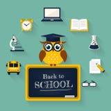 tillbaka skola till Vektorbegrepp av utbildning stock illustrationer