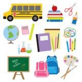tillbaka skolatillförsel till stock illustrationer