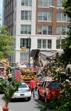 Tillbaka slut av byggnaden som kollapsade Arkivbild