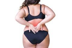 Tillbaka smärta, den feta kvinnan med ryggvärk, den överviktiga kvinnliga kroppen som isoleras på vit bakgrund arkivfoto
