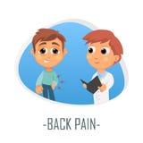 Tillbaka smärta det medicinska begreppet också vektor för coreldrawillustration Arkivbild