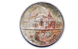 tillbaka smutsigt mynt Fotografering för Bildbyråer