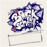 tillbaka stil för grafittiskolatecken till Arkivfoto