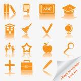 tillbaka symbolsskola som ställs in till Arkivfoton