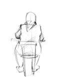 tillbaka tabellkvinna Stock Illustrationer