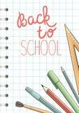 Tillbaka till det skolaannonseringen eller banret stock illustrationer
