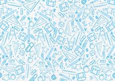 Tillbaka till skolabegreppsmodellen på anteckningsboken med blåa skolasakerillustrationer bakgrund f?r vektorillustrationdesign stock illustrationer