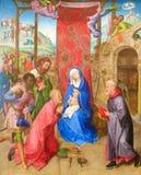 Tillbedjan av de tre vise männen av Hugo van der Goes (det 15th århundradet) Royaltyfria Foton