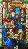 Tillbedjan av de tre vise männenmålat glass - ca 1460-80 Fotografering för Bildbyråer