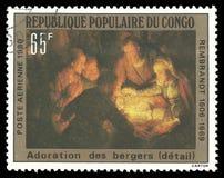 Tillbedjan av herdarna av Rembrandt royaltyfri fotografi