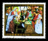 Tillbedjan av konungarna - takfreskomålning från Mattsee, julserie, circa 2008 Arkivfoto