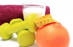 Tillbehör för att använda i kondition, begreppet för sund livsstil och näring royaltyfria bilder