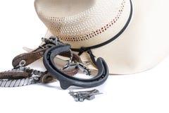 Tillbehör för cowboytillbehörcowboy på vit bakgrund Arkivfoto