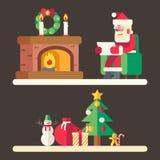 Tillbehör för nytt år för lista för Santa Claus läsningpost Arkivfoto