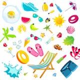 Tillbehören för sommarsemester sänker symbolsuppsättningen royaltyfri illustrationer