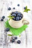 Tillbringare av blåbär på den vita trätabellen Royaltyfri Foto