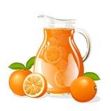 Tillbringare av orange fruktsaft Fotografering för Bildbyråer
