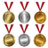Tilldela medaljer guld, silver och bronsskyddsremsor eller medaljer Royaltyfria Foton