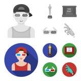 Tilldela Oscar, filmskärmen, exponeringsglas 3D Filmer och fastställda samlingssymboler för film i monokrom, materiel för symbol  Arkivbilder