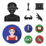 Tilldela Oscar, filmskärmen, exponeringsglas 3D Filmer och fastställda samlingssymboler för film i svart, materiel för symbol för royaltyfri illustrationer