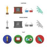 Tilldela Oscar, filmskärmen, exponeringsglas 3D Filmer och fastställda samlingssymboler för film i tecknade filmen, lägenhet, mon Fotografering för Bildbyråer