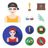 Tilldela Oscar, filmskärmen, exponeringsglas 3D Filmer och fastställda samlingssymboler för film i tecknade filmen, materiel för  Royaltyfria Foton