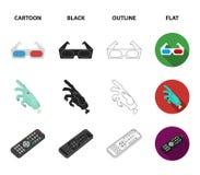 Tilldela Oscar, filmskärmen, exponeringsglas 3D Filmer och fastställda samlingssymboler för film i tecknade filmen, svart, översi Royaltyfria Foton