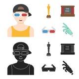 Tilldela Oscar, filmskärmen, exponeringsglas 3D Filmer och fastställda samlingssymboler för film i tecknade filmen, svart materie stock illustrationer