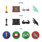 Tilldela Oscar, filmskärmen, exponeringsglas 3D Filmer och fastställda samlingssymboler för film i tecknade filmen, svart, symbol Arkivbild