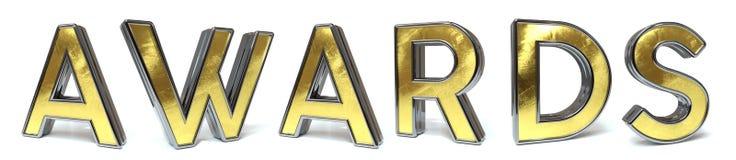 Tilldelar guld- text royaltyfri illustrationer