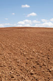 Tilled. Agricultural  field with blue sky and white clouds Stock Photos