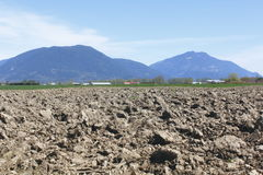 Tilled Soil on Acreage. Springtime and the land has been tilled to prepare it for planting Royalty Free Stock Image