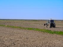 The tilled spring field. The The tilled spring field, the beginning of agricultural works Stock Photo