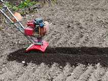 Tiller in loosened bed in field. Planting vegetables in garden - tiller in loosened seedbed in field in spring Stock Photography