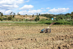 Tiller tractor in rice field Stock Photography