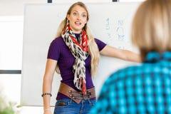 Tillfällig affärskvinna som ger en presentation i kontoret arkivbild