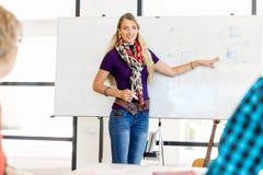Tillfällig affärskvinna som ger en presentation i kontoret Arkivbilder