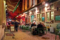 Tillfällig dinning i Bryssel, Belgien Arkivbilder