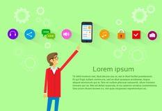 Tillfällig för Smart för manshowcell symbol telefon royaltyfri illustrationer