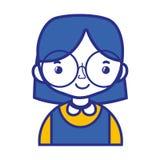 Tillfällig flicka med frisyr- och bluslikformign stock illustrationer