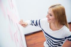 Tillfällig flicka som ser klistermärkear på wal Arkivbilder