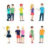 Tillfällig folklivsstil för plan vektor: par män, kvinnor royaltyfri illustrationer