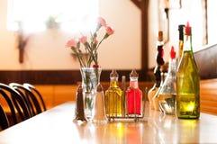 Tillfällig italiensk restauranginställning Arkivbild