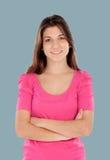 Tillfällig kall ung kvinna arkivfoton