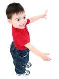 tillfällig lycklig over white för pojke Royaltyfria Foton