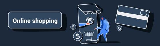 Tillfällig man som använder online-marknaden för mobil applikation som shoppar för kundinnehav för begrepp den manliga skärmen fö stock illustrationer