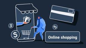 Tillfällig man som använder online-marknaden för mobil applikation som shoppar för kundinnehav för begrepp den manliga skärmen fö vektor illustrationer