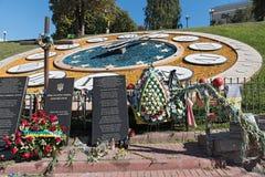 Tillfällig minnesmärke på den Maydan Nezalezhnosti fyrkanten i Kiev, Ukraina Arkivbilder