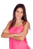 Tillfällig nätt flicka i rosa färger Royaltyfri Foto